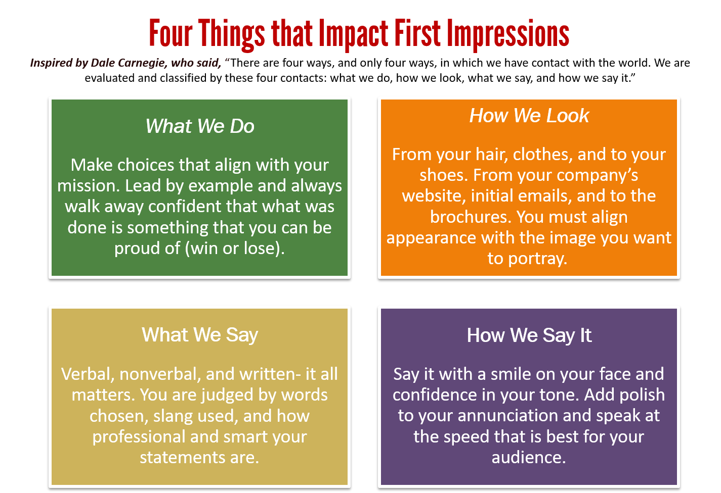 Four Things that Impact First Impressions